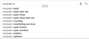 Google's autocomplete in action